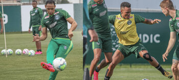 Ricardo Oliveira e Rodrigo Muniz durante os treinos. Fotos: Divulgação/Coritiba
